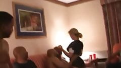 HOT BLONDE WIFE IN BACHELOR PARTY