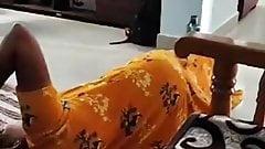 My wife Vijji on floor