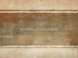 Femdom racking man Facesitting inversion rack