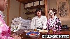Japanese geisha gets fucked while her girlfriend is relaxing