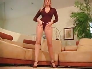 Milf sheer - Julie ann teasing in her sheer to waist pantyhose