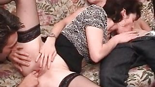 French milf gets double teamed before a good facial cumshot