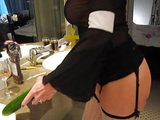 Ass fuck cucumber Blonde nun fucks herself in ass and pussy with cucumber