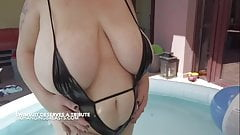 Romanian pornstar with huge tits in the pool