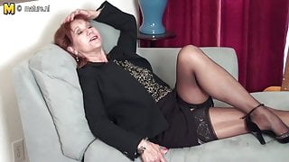 American mature STEPMOM strips first and plays with her toy