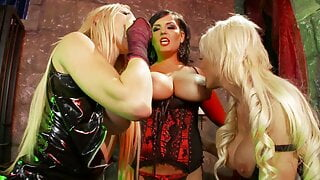 Four kinky ladies in costumes lick and fuck each other