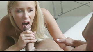 Cute girl finish him off after sex