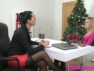 Sexy xmas babe Femaleagent sexy lesbian christmas casting