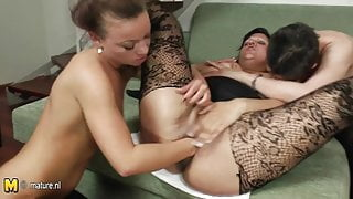 Three old and young lesbians fisting each other