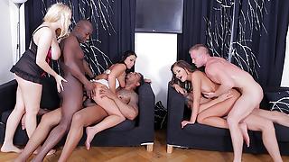 Anal Whores Enjoy a Wild Interracial DP Group Sex Party