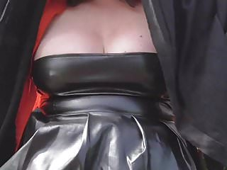 Outdoor upskirts pussy Wife in pvc flashing boobs pussy