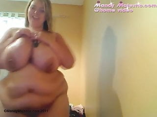 Soft bbw Big soft tummy and huge boobs covered in oil
