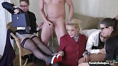 Group Of Sexy Girls In Glasses & Pantyhose Get Peed On & Fucked