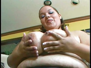 Fucking old boobs - Fat chick with huge boobs titty-fucks old dude while licking his cock rim