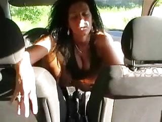 Car fuck gear stick My lewd wife slams her cunt with a gear stick in a car