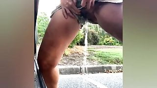 Amateur girls are pissing outdoors, compilation 1
