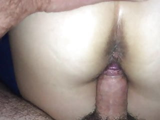 Fucking my wifes ass Fucking and cumming on my wifes hairy ass again