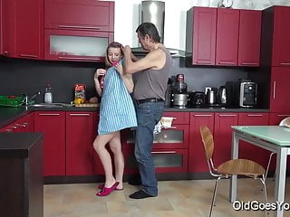 Sex in the openair Old goes young - steamy sex in the kitchen between young
