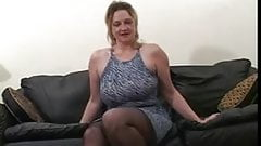 Blonde fat mature gets fucked by two black dudes..