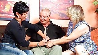 German Mature Wife talks Ugly Maid into FFM Threesome with Husband