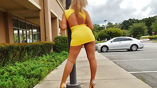 Nasty Sofia strutting in heels and tight dress