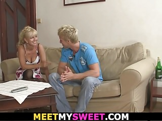 Involved masturbation His blonde girl involved into family threesome
