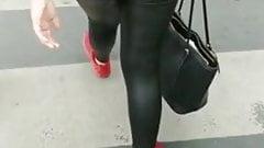 Spanish leather leggings ass on public street