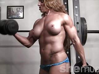 Nake female bodybuilder - Naked female bodybuilder redhead cougar topless in gym