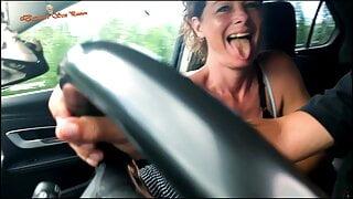 POV Riding Car, Big Cock Sucking, Close Up Squirt Cum in Slow motion