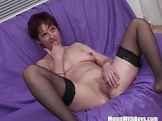 Mature galmour model - Momswithboys mature model takes on three hard