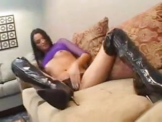 Thigh boot fucking Brandy in her thigh-high black fuck boots gets a creampie.