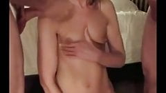 Double teaming a chick and cumming on her little titties