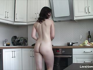Granny nude kitchen Getting nude in the kitchen makes her happy