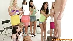 CFNM femdom party hotties pleasing dude