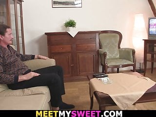 Mini tit Petite mini-titted girl rides his very old cock