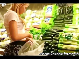 Dick supermarkets She masturbates in supermarket