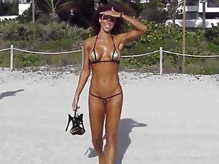 String xxx thongs Extreme short bikini cameltoe string on beach