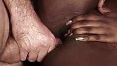 Black babe gets some good big white dick