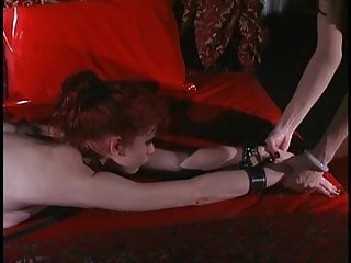 The wedge vibrator - Slutty redhair lesbo in bondage gets her pussy wedged and sucked