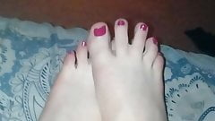 Sexy pink toenails. Male.
