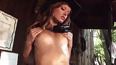 Oiled cowgirl loves to tease