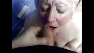 White hair grandma take cum in mouth