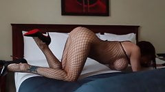 Audrey, Fishnet and Higheel Louboutin
