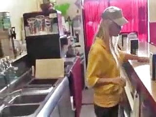 Fast food worker strip search - Amateur fast food teen employee gets fucked