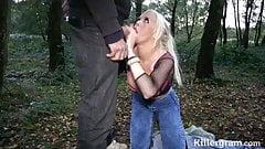 Hot blonde teen loves sucking dogging cocks and cum