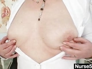 Uniformed matures Big tits old lady in uniform fingers hairy pussy