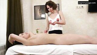 Sensual oily art virgin massage of Jeanne Mathieu