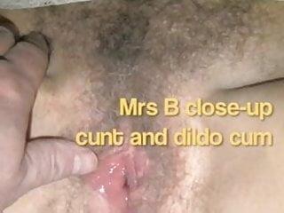 Milf and dildo Mrs b close up cunt and dildo orgasm