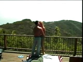 Chick colors mountain rainbow sexy sun sunset Sexy blonde teen gets seduced on cabin deck in the mountains