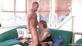 GERMAN GRANNY SEDUCE TO FUCK BY GRAND SON AND STEPMOM CAUGHT